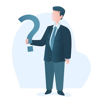 Businessman standing holds question mark illustration