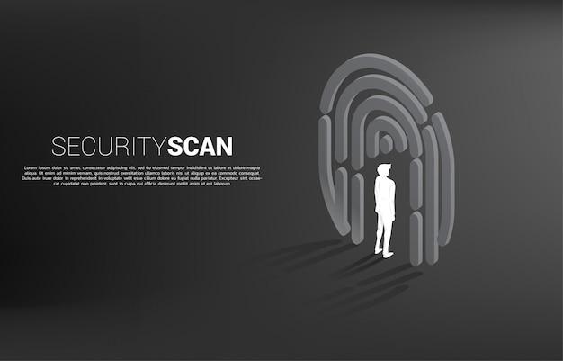 指スキャンシンボルに立っているビジネスマン。 idデータのセキュリティおよびプライバシー技術の背景概念