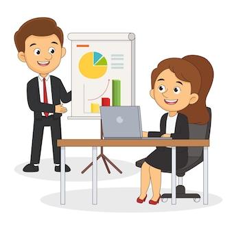 Бизнесмен, стоя перед бизнес-диаграммой
