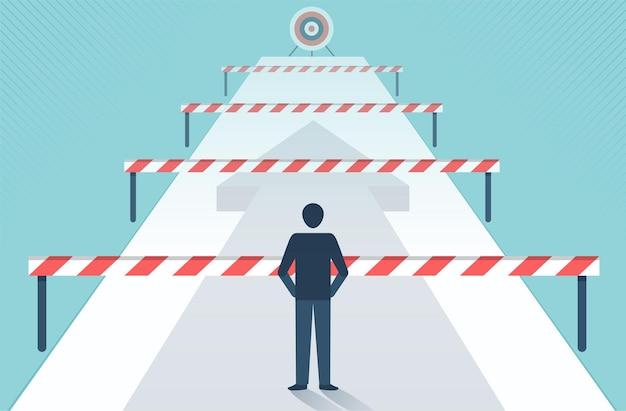 성공 벡터 디자인으로 가는 길에 많은 장애물과 장벽 앞에 서 있는 사업가입니다.