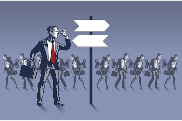 道路標識の前に立っているビジネスマン