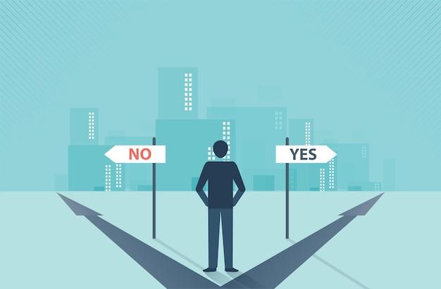 교차로 방향에 서 있는 사업가는 비즈니스 결정 개념을 선택했습니다.
