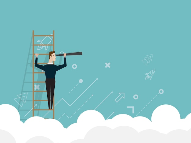 Businessman standing on ladder and use telescope