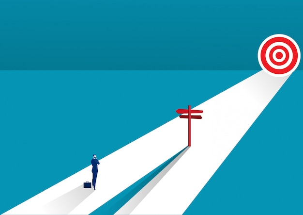 Businessman standing on middle way and choosing direction. business concept. modern vector illustration. direction