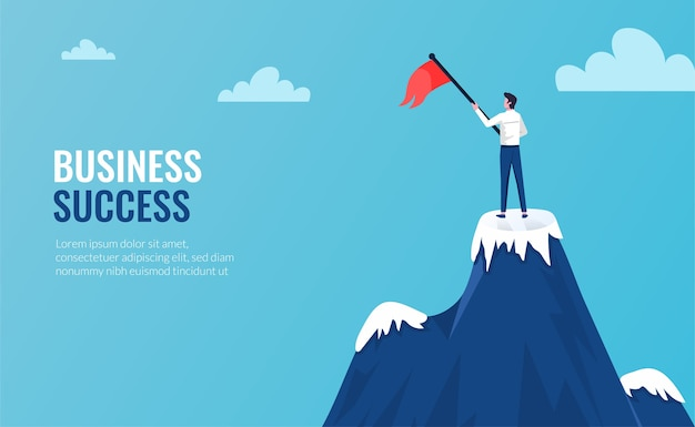 Businessman standing on mountains top in winner pose  illustration with flag rise.