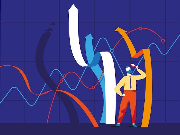 Бизнесмен, стоя возле растущих графиков линий и глядя на них через увеличительное стекло