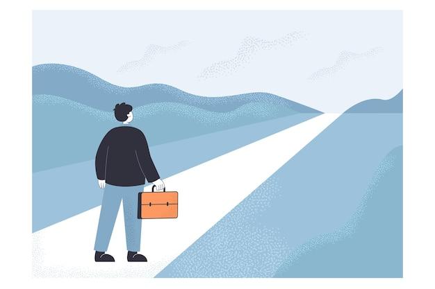 抽象的な高速道路に立っているビジネスマン