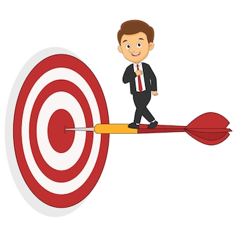 Бизнесмен, стоящий на дротике для достижения бизнес-цели