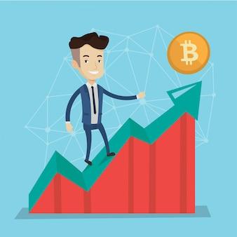 Бизнесмен стоя на диаграмме bitcoin роста.