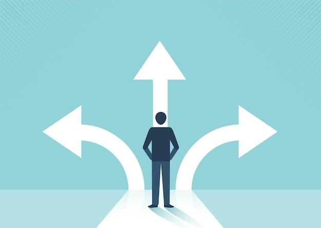 화살표 다른 방향과 성공 개념 벡터와 교차로에 서 있는 사업가