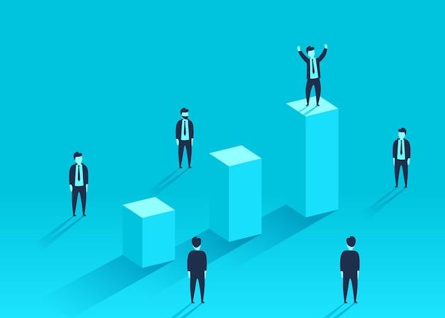 Бизнесмен, стоящий на финансовом графике вокруг толпы