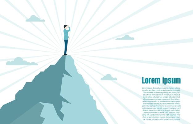 頂上の山に立って成功を見ているビジネスマン、彼の目標、ビジネスコンセプトの課題と目標への道を探している従業員。ベクトルイラストフラット