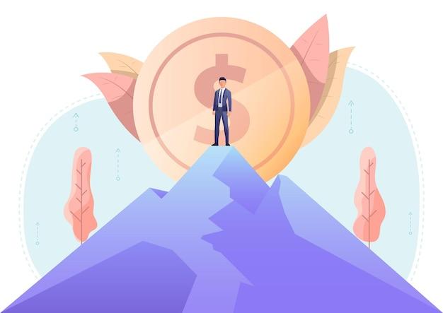 백그라운드에서 큰 달러 동전으로 산 꼭대기에 서 있는 사업가. 비즈니스 리더십 및 성과 개념입니다.