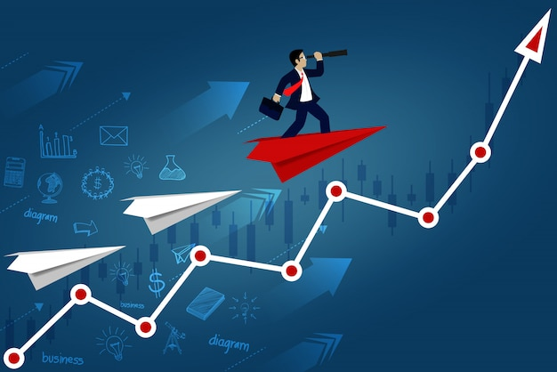 Businessman standing on paper plane looking with the telescope on red arrow go to target