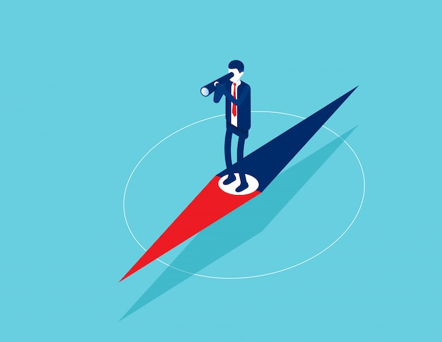 Businessman standing on pointer and exploring direction
