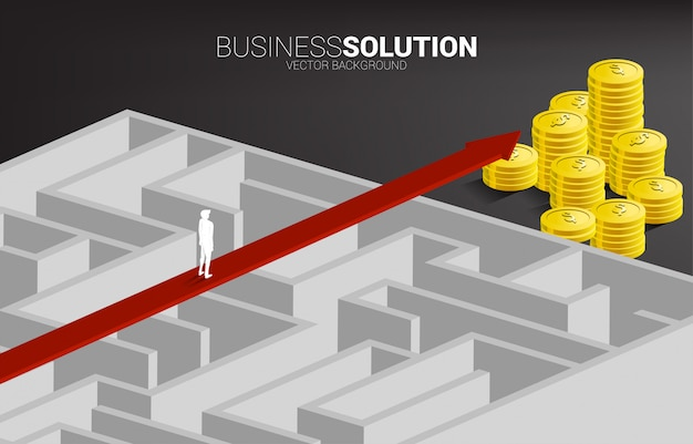 Businessman standing on red arrow route over the maze to money stack. business concept for problem solving and solution strategy.