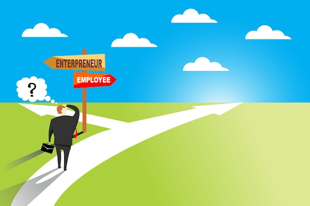 Businessman standing at road sign with two career pathways- entrepreneur and employee
