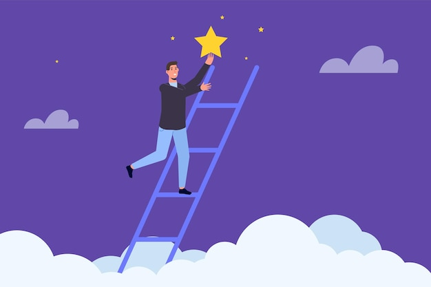 Businessman standing on stairs and reaches the star. vector illustration.