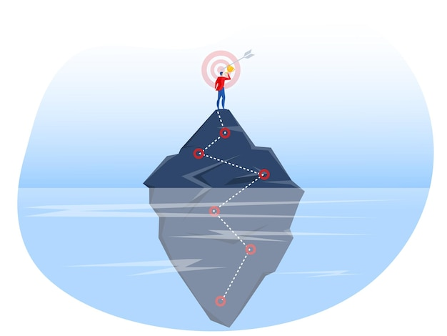 Businessman standing on top of cliff with get award unconscious concept  vector iilustrator