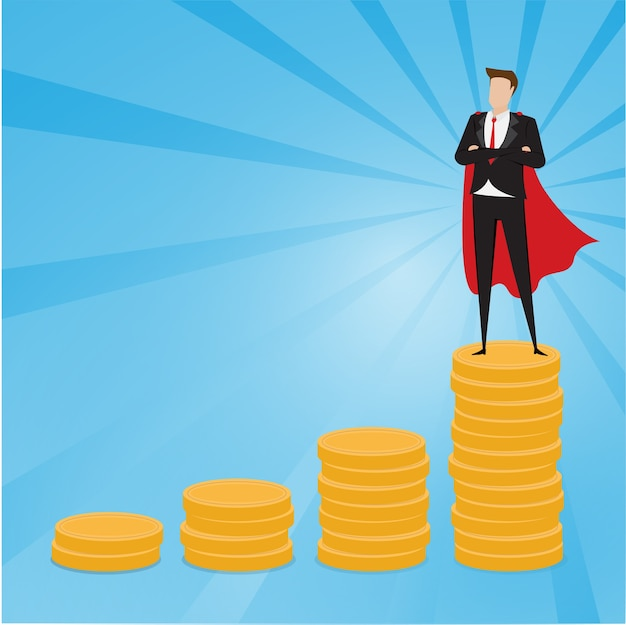 Businessman standing on top of gold coins with blue background