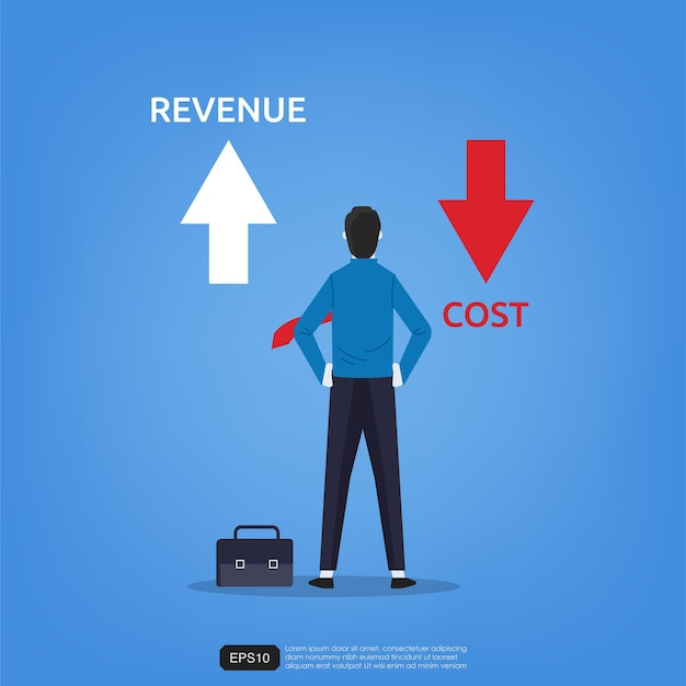 Businessman standing views arrow up and down for revenue and cost symbol