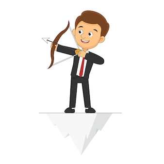 Businessman standing with bow and arrow on top of the hill
