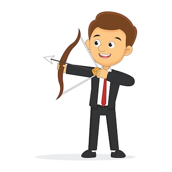 Businessman standing with bow and arrow