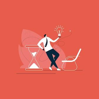 Бизнесмен, стоя с творческим бизнес-решения на время концепции иллюстрации