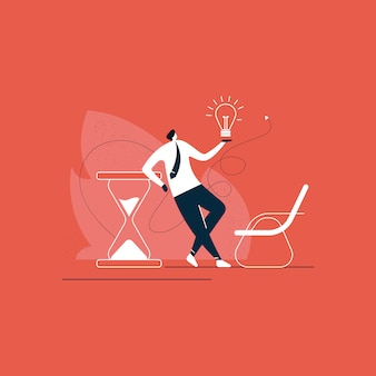 Businessman standing with creative business solution on time concept illustration