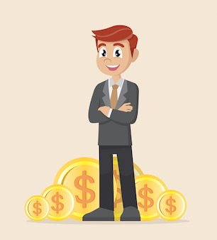 Businessman standing with gold coin.