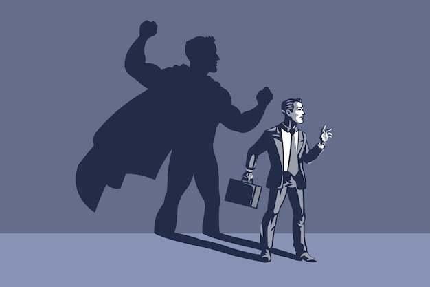 Businessman standing with his shadow at the back. concept illustration of businessman hidden power and ability