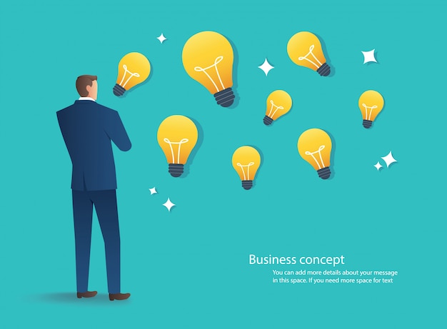 Businessman standing with light bulb idea concept