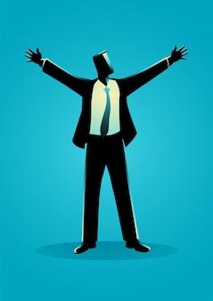 両手を広げて立っているビジネスマン