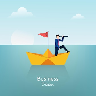Businessman standing with telescope on the paper ship symbol. business vision  illustration