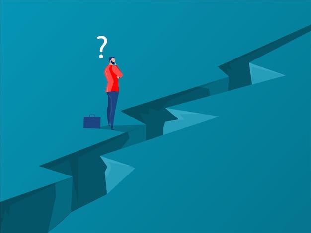 생각을 가지고 서 있는 사업가는 성공으로 가는 길에 장애물을 극복합니다. 성취와 도전, 사업가 개념 벡터