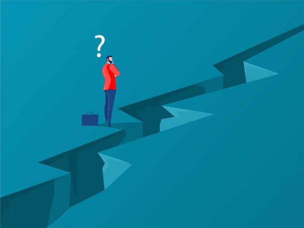 Businessman standing with thinking overcomes obstacle chasm on way to success. achievement and challenge, businessman concept vector