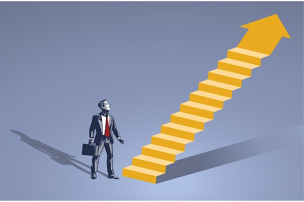 Businessman stands in front of imaginary ladder blue collar