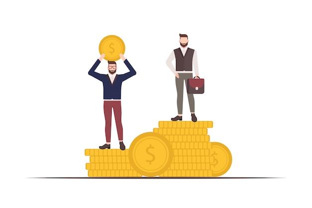 Бизнесмен стоит на монетах