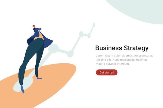 ビジネスマンは、チャートグラフフラットイラストビジネス戦略の概念で立っています。