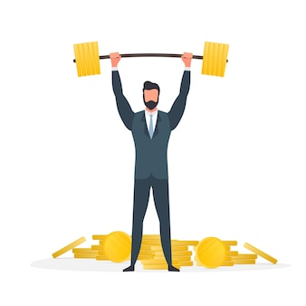 A businessman stands with a mountain of coins and raises the barbell. a man in a suit with a barbell. the concept of a successful business and revenue growth. isolated. vector.