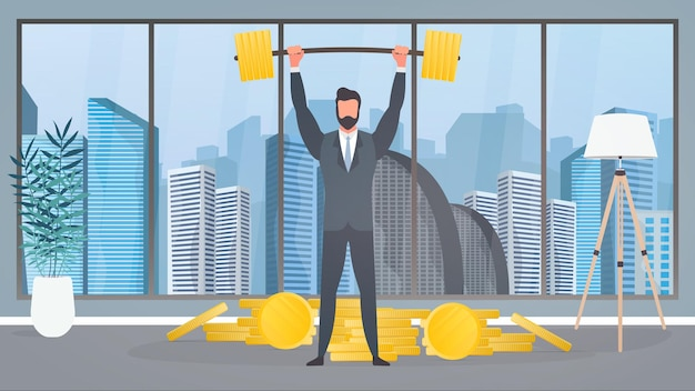 A businessman stands with a mountain of coins and raises the barbell.