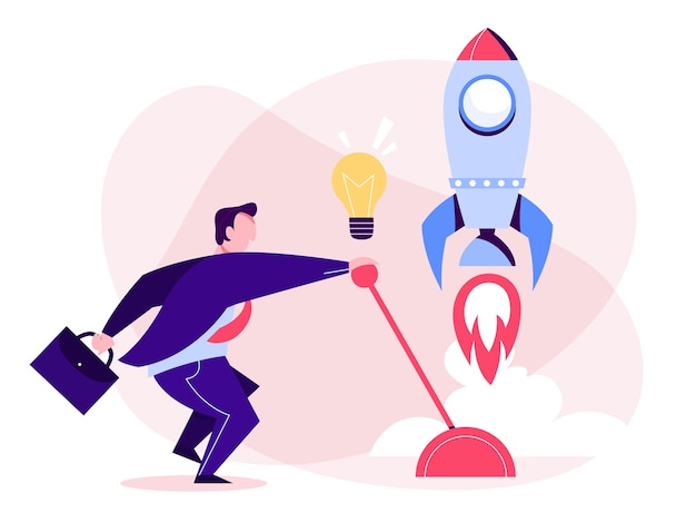 ビジネスマンは新しいプロジェクトを開始します。スタートアップのアイデア