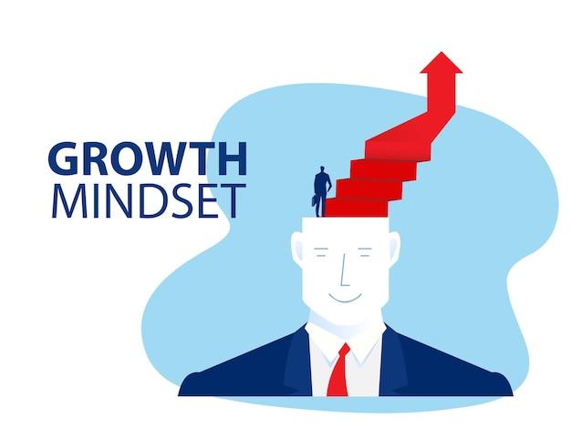 사업가는 머리 사업, 성장 마인드 개념 벡터 일러스트레이터에 대한 성공적인 경력 달성을 위해 계단을 오르기 시작합니다.