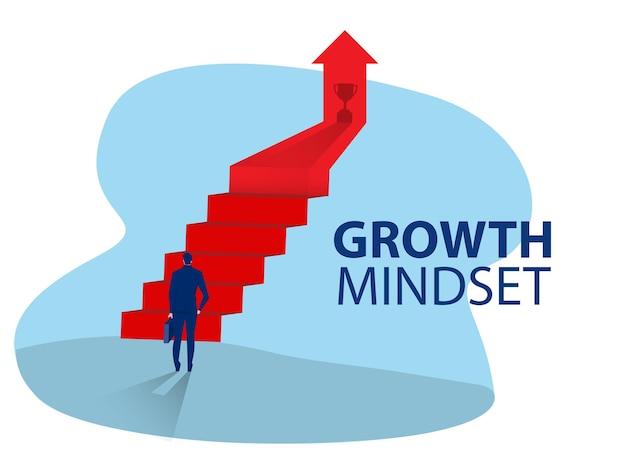 Businessman start climbing stair for successful career achievement