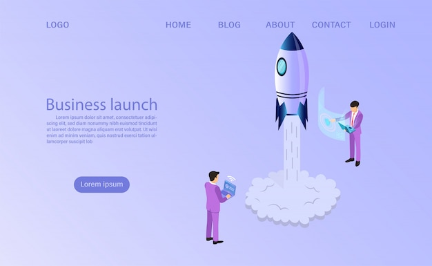 Businessman start to launch a space rocket