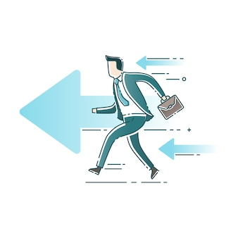 Businessman start to running with arrows