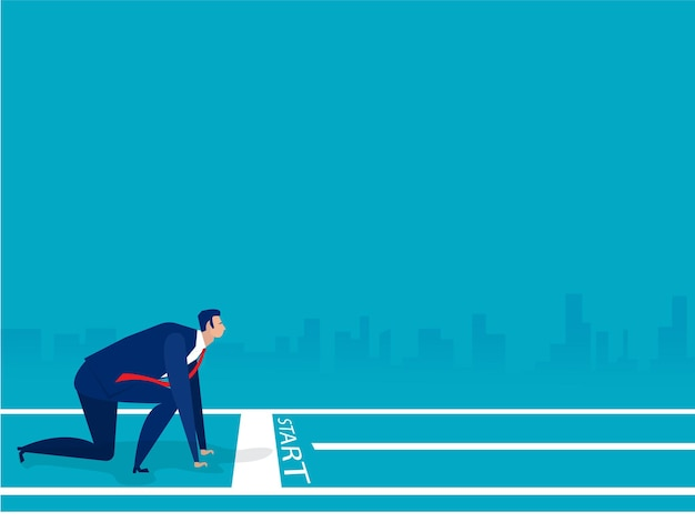 ビジネスマンのスタートラインと新年2021年の青いイラストの準備ができて