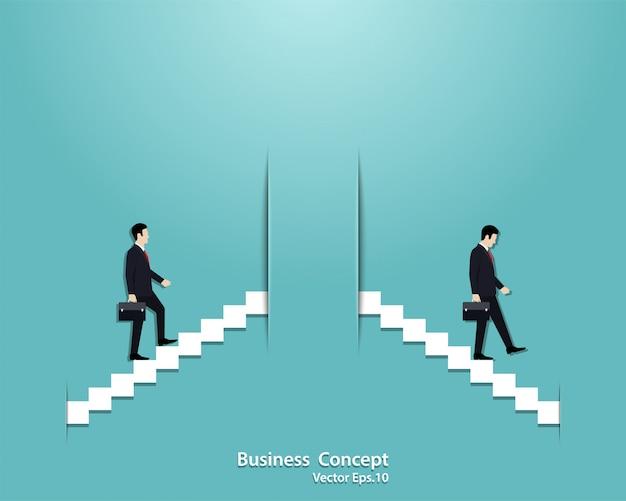 Businessman startup and businessman fail