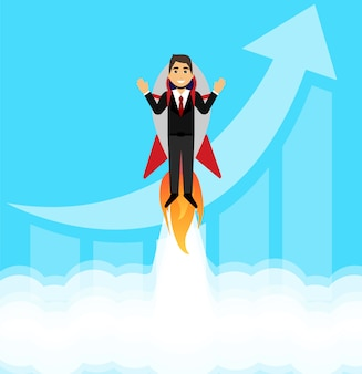 実業家は彼のビジネスを開始します。ロケットの概念実業家。ビジネスを始める。フラットスタイル。