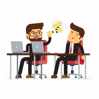 Businessman stealing light bulb idea his colleague